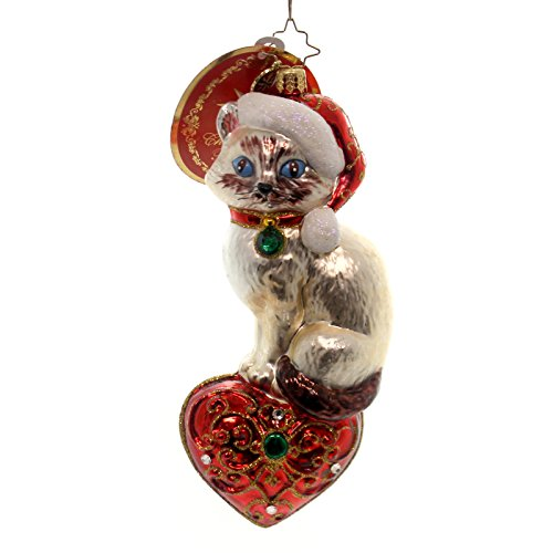 Christopher Radko Siamese Sweetheart Animal Christmas Ornament