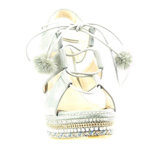 Angkorly - Zapatillas de Moda Sandalias alpargatas zapatillas de plataforma abierto mujer perla trenzado pompom Talón Plataforma 13 CM - Gris
