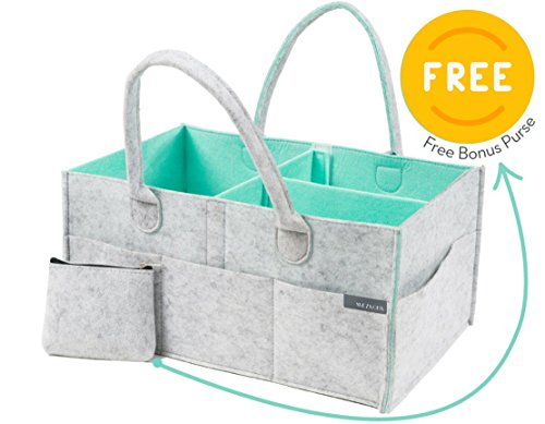 Aqua Changing Table - Baby Diaper Caddy Organizer with EXTRA GIFT - Large Nursery Storage Bin | Baby Shower Gift Basket for Boys Girls, Changing Table, Newborn Registry, Diaper Bag Tote, Baby Storage Bin, (Aqua)