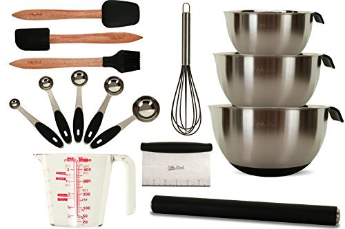 All-in-One 15-Piece Professional Baking Set - Stainless Steel & Silicone Bakeware - 3 Mixing Bowls - Rolling Pin - Measuring Cup + 5 Spoons - Basting Brush - Whisk - Spatula - Scraper - Dough Cutter