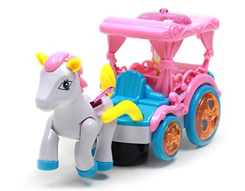 Princess Horse and Carriage Toy Set - Bump and Go Pink Carriage Playset Kids Toys, Battery Powered with Music and Colorful Flashing Lights for Girls Boys Toddlers