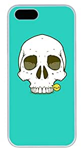 iPhone 5 5S Case Cool Skull 03 Funny Lovely Best Cool Customize iPhone 5S Cover White