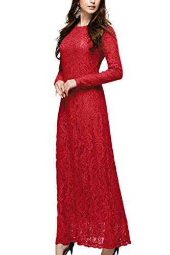 Travail Yacun Musulmane Robe de Maxi Dentelle Red de Manches Femmes Robe Longues qxR84Yq