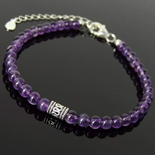 Men and Women Bracelet Handmade with 4mm Amethyst and Genuine 925 Sterling Silver Beads, Clasp with Link, Free Gift Box ()