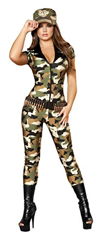 2 Piece Army Babe Camo Jumpsuit & Hat Party (Army Commander Costume)