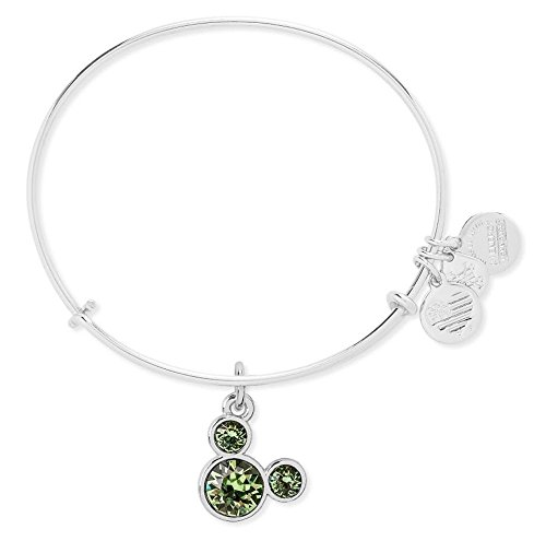 August Birthstone Mickey Mouse Icon Disney Alex and Ani Bangle Bracelet (Silver)