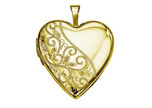 Pori Jewelers 14K Solid Yellow Gold Heart Locket Pendants (Fancy Swirl (25MM))