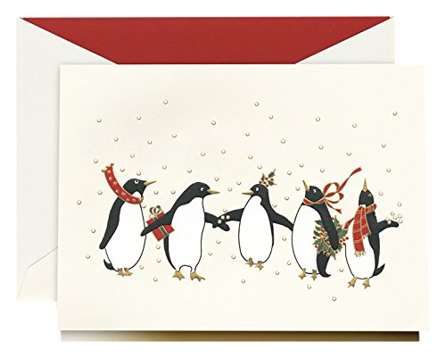 Crane Com Holiday - Crane Engraved Festive Penguins Greeting Card (KN30025V)