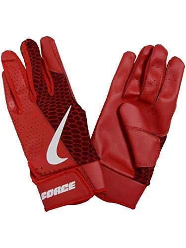 Nike Adult Force Edge Leather Batting Gloves (University Red/Large)