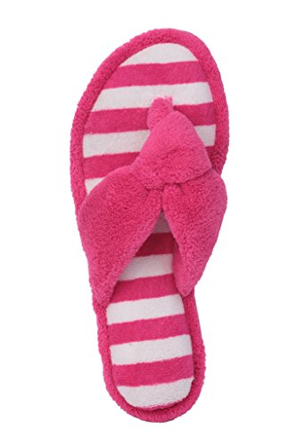 Beverly Stein Cabana Stripet Terry Tanga-flip-flop Spa Tøffel Rose Rosa