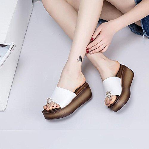 EU36 strass Sandales rose épais pour CN36 en taille 6cm noir blanc fond Beige forme Pour UK4 chaussures de Chaussures femmes de de HAIZHEN beige plage Blanc femmes Couleur qTISFY