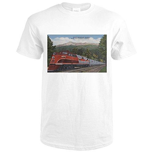Lantern Press Rocky MT. Rocket (Train), Pikes Peak, Colorado (Premium White T-Shirt XX-Large) (Pikes Train)