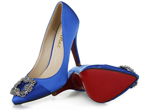 SEXYHER Fashion Satin Diamond Clasp 3.5 Inches High Heel Office Of Women's Shoes - SHOMQ968-88-3.5 Blue PE7Lr