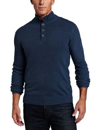 Geoffrey Beene Men's Sa 1/4 Zip Mock Sweater, Azure, Medium
