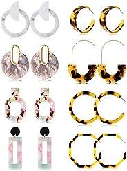 Jstyle 6-8Pairs Acrylic Hoop Earrings for Women Girls Statement Resin Earrings Set Fashion Women Jewelry
