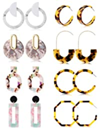 Jstyle 6-8Pairs Acrylic Hoop Earrings for Women Girls Statement Resin Earrings Set Fashion Women Jewelry