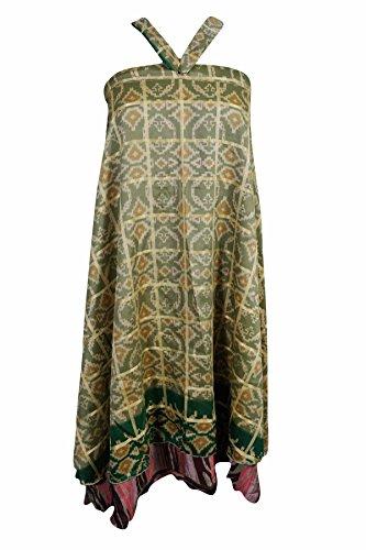 Cruise Collage (Mogul Womens Magic Wrap Skirt Vintage Silk Sari Two Layer Reversible Cruise Dress (Green 2))