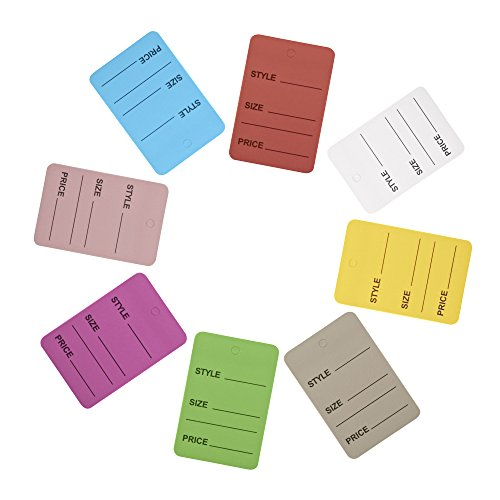 Price Tags, Perforrated Merchandise Marking Tags, One-Part Paper Tags, 1-1/4 x 1-7/8 - Inches Marking Tags, Pack of 1000 (Mix Color)