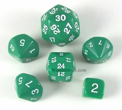 Green Special Who Knew 6 Dice Set (22 Sided Dice)