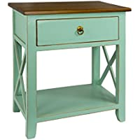 Antique Revival CB145B AQU Kashi Accent Nightstand, Aqua