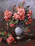 Diy oil painting, paint by number kit- Pink flowers(2) 1620 inch.