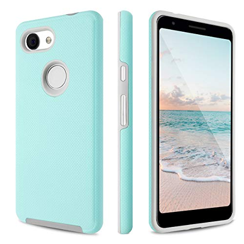 (Fingic Google Pixel 3a Case, Pixel 3a Case, Dual Layer Hybrid Hard PC Soft TPU Shock Absorption Bumper Anti-Scratch Slim Protective Phone Case Cover for Google Pixel 3A 5.6 inch 2019, Mint Green)