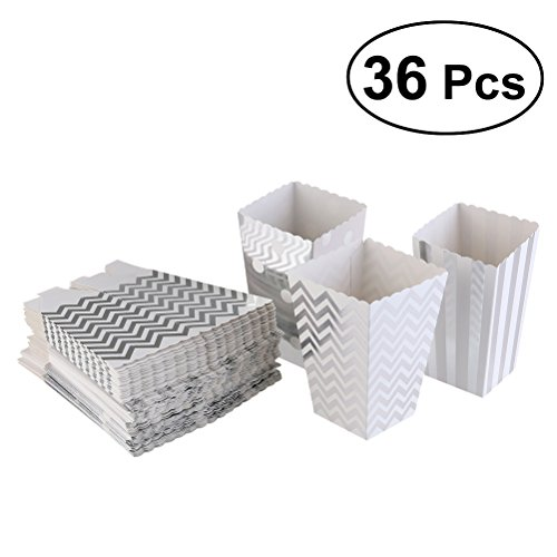 TOYMYTOY Popcorn Boxes Paper Container Favor Boxes Holder Set Party Favors Supplies Decoration,Pack of 36 (Sliver)