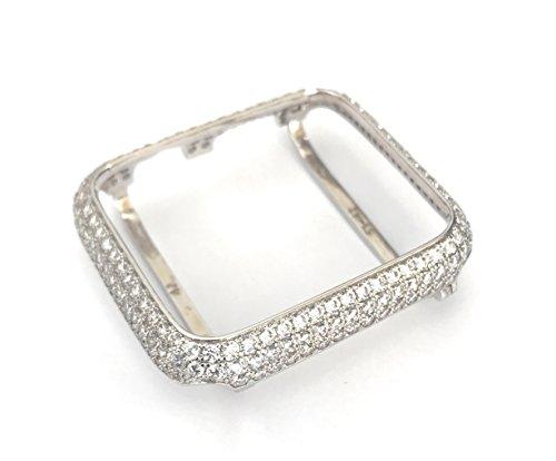 (EMJ004 Series 1,2,3 Bling Apple Watch Zirconia Silver White Gold Case Insert Bezel 38/42mm (42, Series 3 Non-Ceramic))