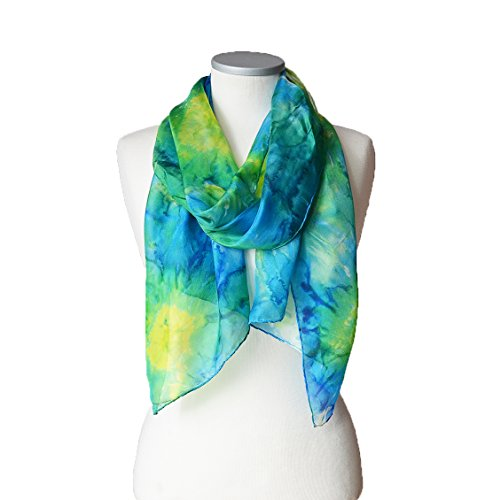 Shibori Silk Scarf For Women Hand Dyed Green Yellow Blue Abstract Elegant Shawl