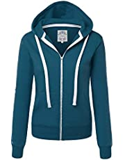 Made By Johnny MBJ Womens Active Soft Zip Up Fleece Hoodie Sweater Jacket
