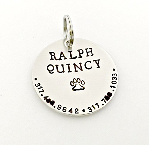 Pet ID Tag - Nickel Silver Round - Personalized Hand Stamped Pet Tags