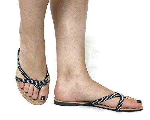 ANNA Womens Basic Casual Gladiator Sandals Flip Flops Flats Black Z0NXD