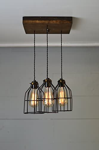 West Ninth Vintage Old Elm Wood Multi Pendant Farmhouse Chandelier – 3 Sockets with Black Cages