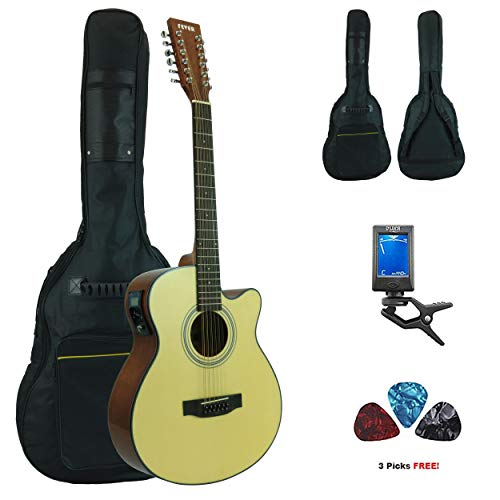 Fever 12 String Acoustic Electric Guitar with Bag, Tuner and Picks, Natural reviews
