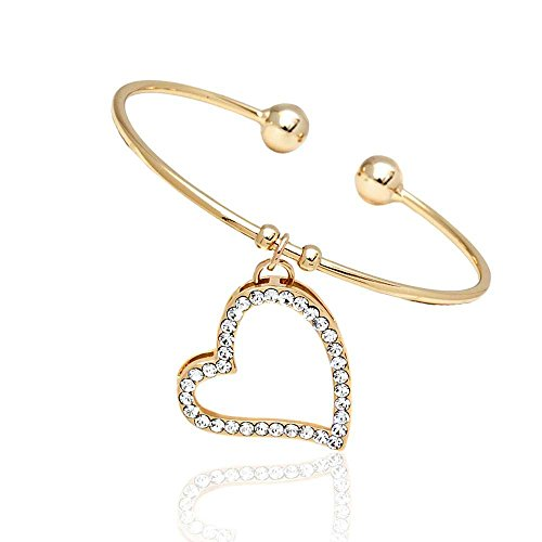 Yellow-Gold-Plated-Brass-Open-Bangle-Bracelet-with-White-Crystal-heart-Shape-Pendant