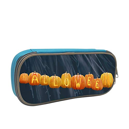 Halloween Pumpkin Large Capacity Dirty And Waterproof Multi-Layer Pencil Case Blue -