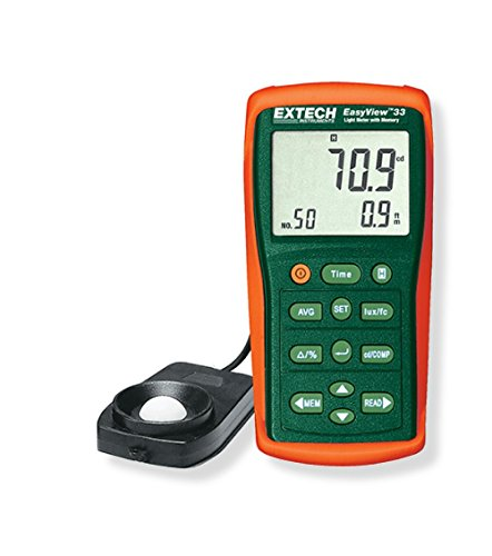 Extech EA33 EasyView Light Meter with Memory; Large LCD display with advanced illuminance functions and features; Store and recall up to 50 measurements, includes relative or real time clock stamp by Extech