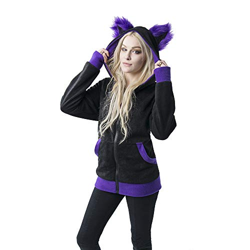 Pawstar Color Theme Mew Kitty Cat Eared Hoodie Jacket - XXL Purple