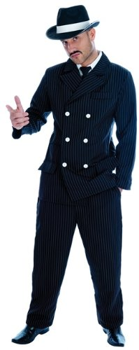[1920s Gangster Mens Fancy Dress Costume - XL (Chest 46-48in)] (20s Gangster Adult Costumes)