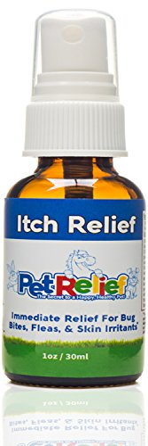Pet Relief Anti Itch Spray, Natural Itching Treatment Relief from Ringworm Scratch, 1 oz., for Dogs by PET RELIEF