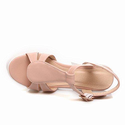 Carolbar Donna Open Toe Fibbia T-strap Fascino Partito Piattaforma Moda Grosso Tacco Alto Sandali Abito Rosa