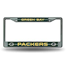 NFL Green Bay Packers Bling Chrome License Plate Frame with Glitter Accent
