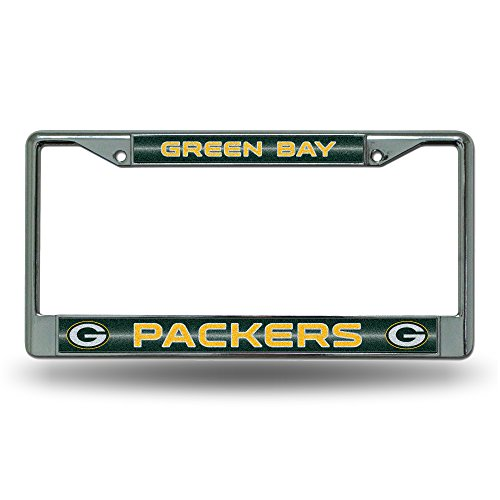 Rico Nfl Green Bay Packers Bling Chrome License Plate Frame With Glitter Accent