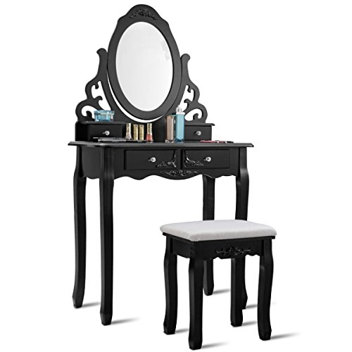 Giantex Vanity Dressing Table with Mirror and Stool, 360° Rotating Oval Makeup Mirror Classic Style Delicate Carved Cushioned Benches Wood Legs, Vanity Tables with Divided Drawers (Black)