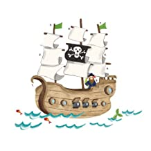 RoomMates RMK2042SLM Pirate Ship Peel and Stick Giant Wall Decals