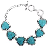 DVANIS Jewelry Pretty Heart Design Rimous Turquoise Silver Plated Link Bangle Bracelet Toggle Clasp Women