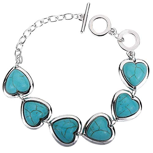 DVANIS Jewelry Pretty Heart Design Rimous Turquoise Silver Plated Link Bangle Bracelet Toggle Clasp Women by DVANIS