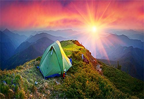 Laeacco 9x6ft Mountain Top Camping Scene Backdrop Vinyl Morning Glow Green Tent Facing The Sun Remote Continuous Foggy Mountains Photography Background Adventure Exploration Child Adult Vacation Shoot