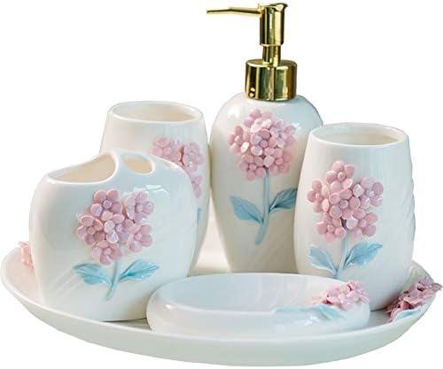 FXin バスルームアクセサリー、シンプルなセラミックバスルームセット6ヨーロピアンスタイル彫刻美しいトレイ家庭用口マグ歯ブラシホルダー、ホワイト シャワー室