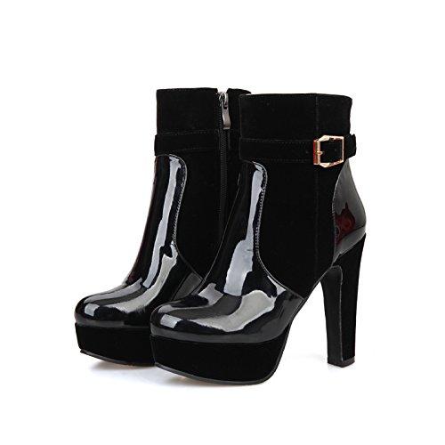 Carolbar Para Mujer Moda Encantos Cremallera Charol Hebilla Plataforma De Tacón Alto Botas Negro